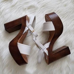 """Steve Madden """"Laurisa"""" Wood Platform Heels Size 9"""